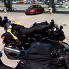 Jim Jones of Jasper, Ind., takes a break at a pit stop riding from Indiana to South Carolina.