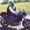 Leslie Kian on a fund-raising ride for cancer research, riding with a group at M. D. Anderson Cancer called Riders for the Cure.