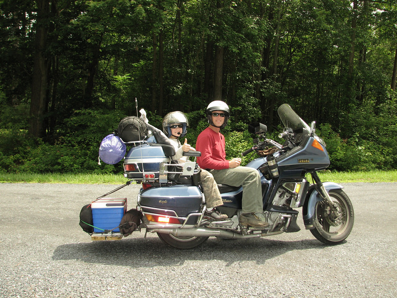 """Thought I'd pass on this pic of my son Aiden and I getting ready to leave on a camping trip for his 9th birthday on my 1990 Yamaha Venture Royale. We had a ball on our five-day trip; went 4.5 hours inland from where we live on Maryland's coast to a beautiful campground with a lake (we live near the beach, so it was a change of scenery). We regularly ride."" - Robert Nichols of Berlin, Md."