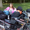 Julia Jones of Jasper, Ind., at a rest area riding from Indiana to Maine/Canada.