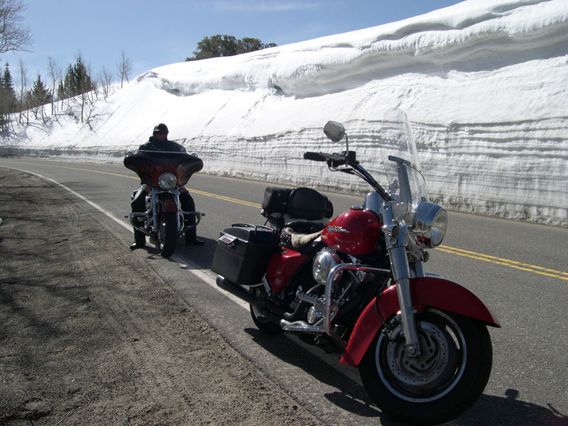 """Here is a pic from a ride my buddies and I just completed last Sunday. We did a 1,300-mile loop around the center of California, from Big Sur to Death Valley to the Sierras, and back to where we live in the Bay Area. We ran into huge snow accumulations up in the Sierras, including this area somewhere along California Route 168 in the Inyo National Forest. I took this shot of my buddy, Drew, on his bike, with mine in the foreground. A winter wonderland -- and temps in the mid 50s! Doesn't get any better than that."" - Tom Short of San Rafael, Calif."