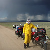 Marge Gunderson of Grand Junction, Colo., gearing up for a storm near Douglas, Wyo.