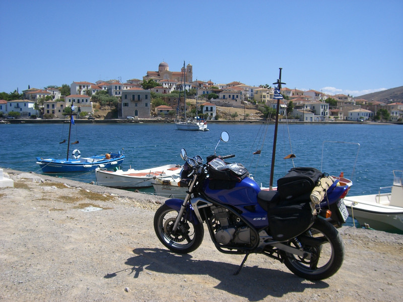 "Peter Calles of Bethesda, Md., took this photo of his Kawasaki in my parents' home town in Greece. ""We still have the family home there, and the town is only 2,000 years old,"" he said."