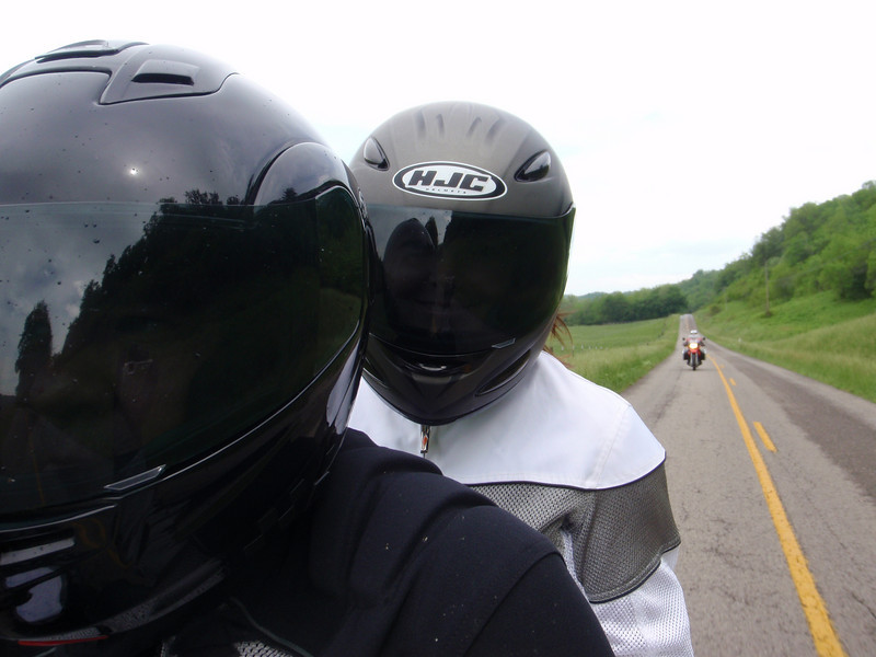 """Here is my wife, Michele, and I riding in rural Kentucky during the Eurofest rally out of Burksville, Ky. I love the genuine smile on her face just visible through the face shield. What a great ride that was. Also, on the BMW F650 behind us is my sister, Angela."" - Mike Kramer, Franklin, Tenn."