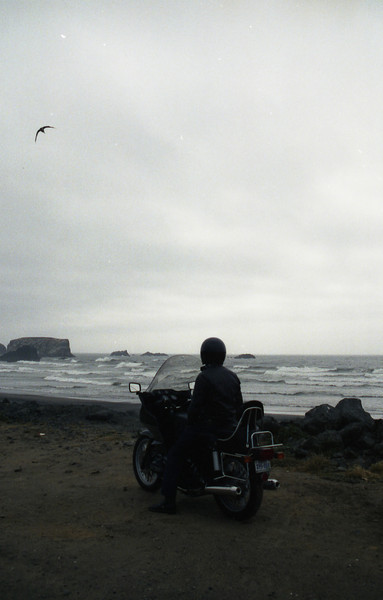 James St. Clair of Zimmerman, Minn., in a photo taken by his wife, Theresa, on the Oregon coast during a four-week trip out west.
