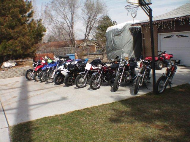 """""""Just a few pictures of my bikes. I am currently restoring a 1972 Yamaha 650 XS and a 1972 125 Yamaha Enduro electric start. I have restored two 350 Yamaha's, the Little Giant Killers a 1974 and a 1972. My list of bikes is: 1972 Yamaha 650 XS, 1000 CBR Honda (my son's), 1972 Yamaha 125 Enduro, 200 XR Honda (my wife's), 1972 Yamaha 350, 1000 R1 Yamaha  (my son's), 1974 Yamaha 350, 250 WR Yamaha (my daughter's), 1979 Yamaha XS 1100, 2007 Yamaha 1300 V Star, 2004 Yamaha WR 450 that I race in the over 50 Class, AMA Hare and Hound Series. My passion started for motorcycles 42 years ago when my friend got a minibike. Now I restore bikes and race with my two son's and my daughter."""" - Ted Unsworth of Utah"""