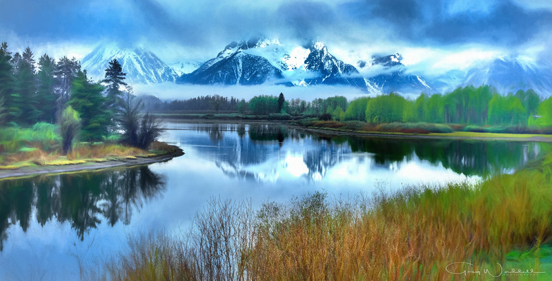 Oxbow Bend (watercolor) gregwaddell Photography