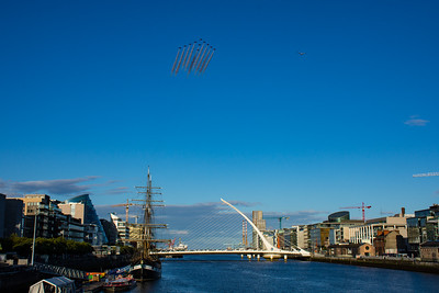 Red Arrows over Samuel Beckett Bridge