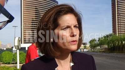 Catherine Cortez Masto At Press Conference Protesting Trump Outside Trump Hotel In Las Vegas, NV