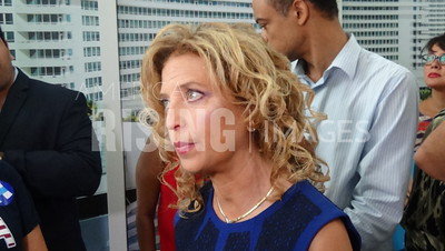 Debbie Wasserman Schultz At Hillary Clinton Campaign Rally At Florida International University In Miami, FL