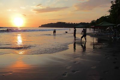 sunset on the beach at Manuel Antonio