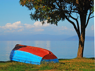 Boat Foreground At Lake Ohrid