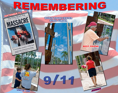 A series of photos taken of individuals remembering September 11 at the Northlake Memorial the day after Bin Laden's death (picture #1 was taken of the news headline as embedded & displayed at the Memorial).
