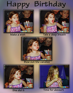 A series of photos taken of a 4 year old taken at her birthday party