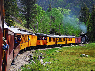 Durange Railroad Train Through Mountains