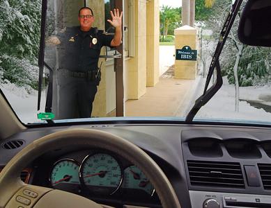Car - Through Security With Guard Waving
