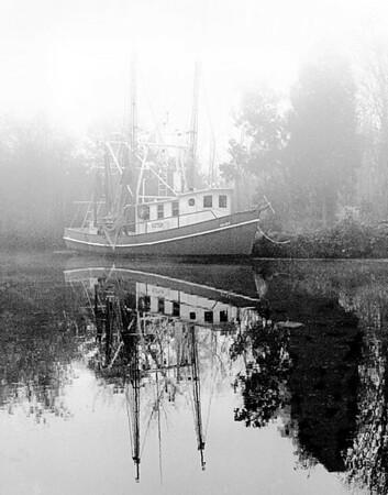 Shrimp boat in fog, Marksville La.