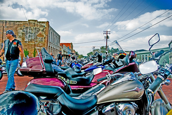 Biker rally at Jefferson, Texas in October of 2008.
