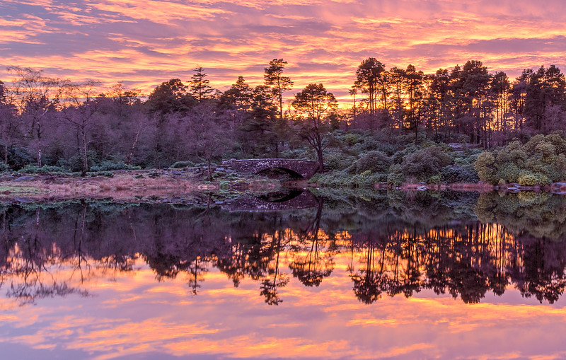 Sunset Cragside Lake