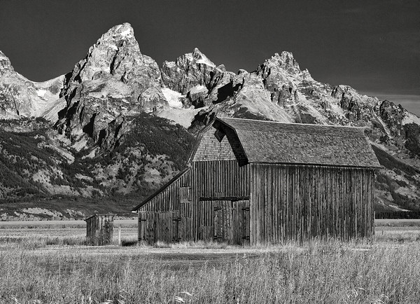 Teton Mountains and Barn<br /> Black and White