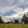 Visitors to Resthaven Memory Gardens on Memorial Day, Monday, May 30, 2016, point to a military jet flying over the cemetery north of Loveland. (Photo by Craig Young / Loveland Reporter-Herald)
