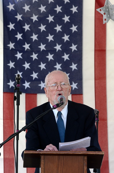 Retired Col. Joseph Cassidy speaks to the crowd during the Memorial Day event Monday, May 30, 2016, at Resthaven Memory Gardens north of Loveland. (Photo by Craig Young / Loveland Reporter-Herald)