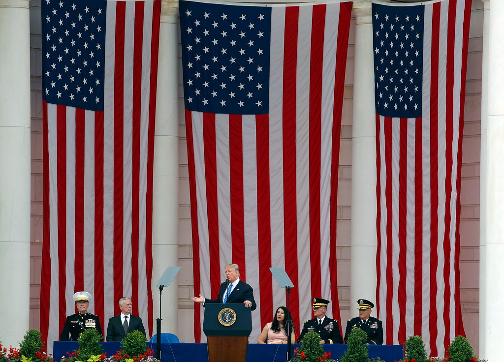 . President Donald Trump speaks at the Memorial Amphitheater in Arlington National Cemetery in Arlington, Va., Monday, May 29, 2017, during a Memorial Day ceremony. (AP Photo/Pablo Martinez Monsivais)