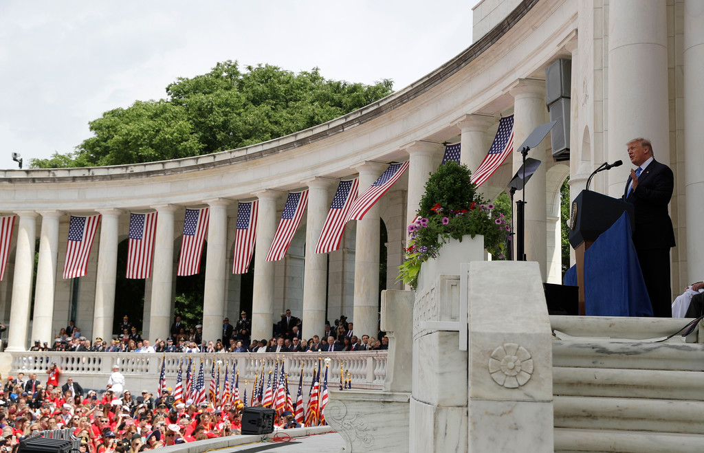 . President Donald Trump speaks during a Memorial Day ceremony at Arlington National Cemetery, Monday, May 29, 2017, in Arlington, Va. (AP Photo/Evan Vucci)