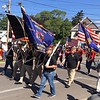 Richard Payerchin - The Morning Journal <br> Members of Amherst veterans groups march to start the Amherst Memorial Day Parade on May 20, 2017. Hundreds of people came out to communities across Lorain County for Memorial Day services.