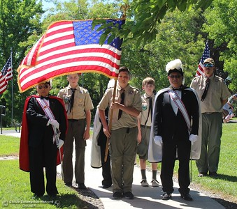 Steve Schoonover -- Mercury-Register Boy Scouts and the Knights of Columbus prepare to bring in the colors during Memorial Day ceremonies at Memorial Park Cemetery in Oroville, May 28, 2108.