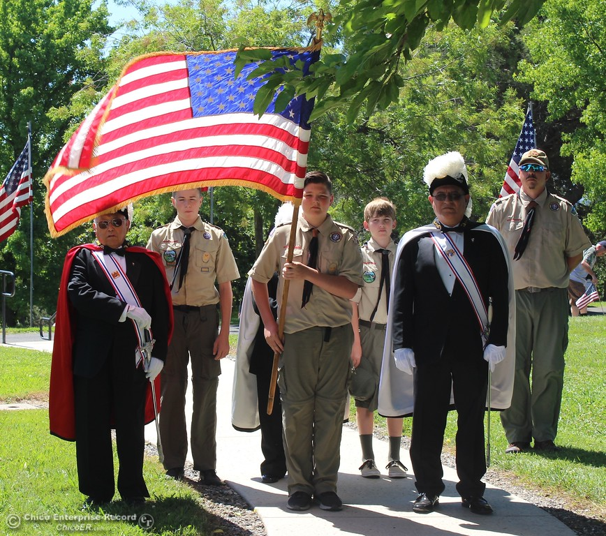 . Steve Schoonover -- Mercury-Register Boy Scouts and the Knights of Columbus prepare to bring in the colors during Memorial Day ceremonies at Memorial Park Cemetery in Oroville, May 28, 2108.