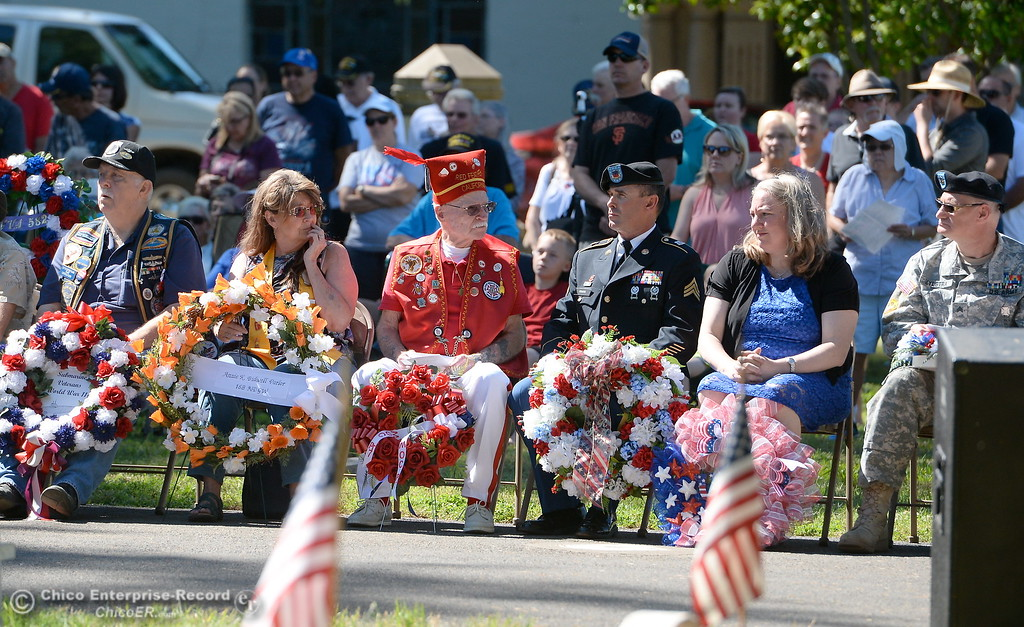 . Veterans wait to place wreaths during the Memorial Day Ceremony held at the Chico Cemetery in Chico, Calif. Monday, May 28, 2018. (Bill Husa -- Enterprise-Record)