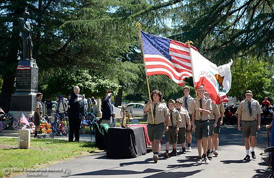 The Boy Scouts of America Color Guard retire the colors near the end of the Memorial Day Ceremony held at the Chico Cemetery in Chico, Calif. Monday, May 28, 2018. (Bill Husa -- Enterprise-Record)