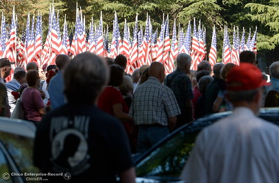 People listen during the Memorial Day Ceremony held at the Chico Cemetery in Chico, Calif. Monday, May 28, 2018. (Bill Husa -- Enterprise-Record)