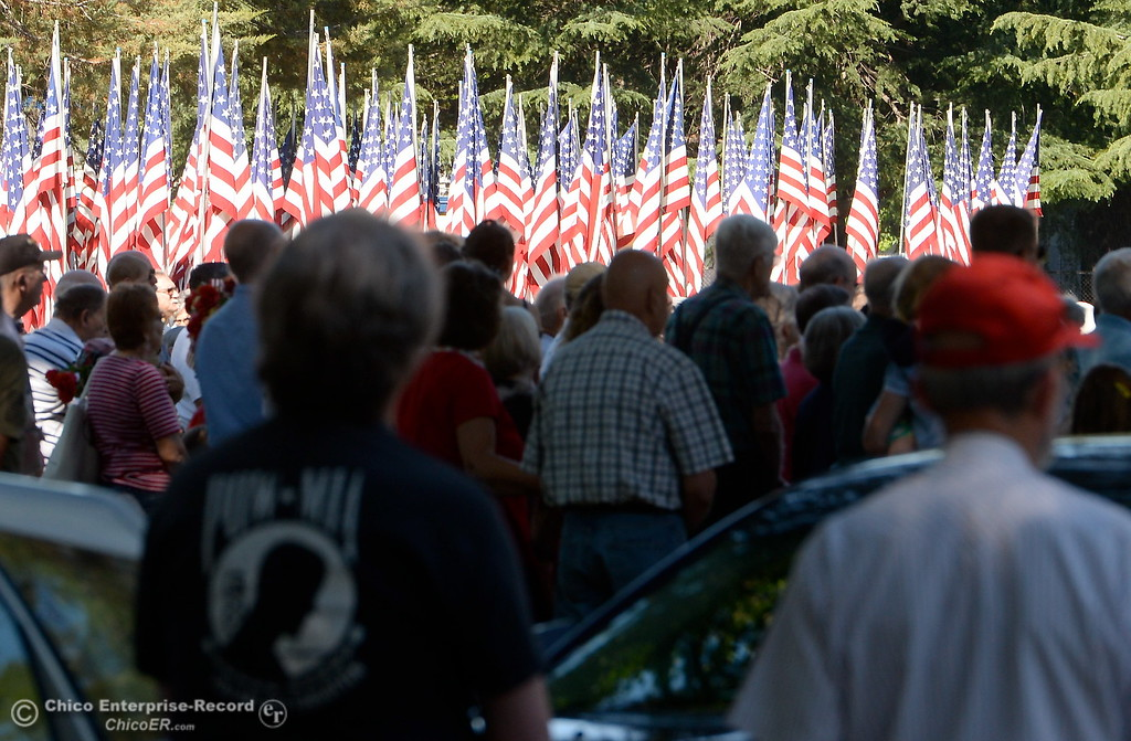 . People listen during the Memorial Day Ceremony held at the Chico Cemetery in Chico, Calif. Monday, May 28, 2018. (Bill Husa -- Enterprise-Record)