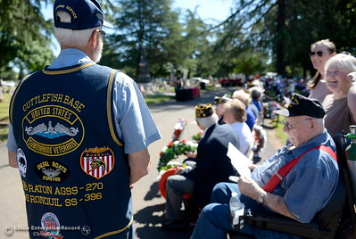 Submarine Veterans stand together during the Memorial Day Ceremony held at the Chico Cemetery in Chico, Calif. Monday, May 28, 2018. (Bill Husa -- Enterprise-Record)