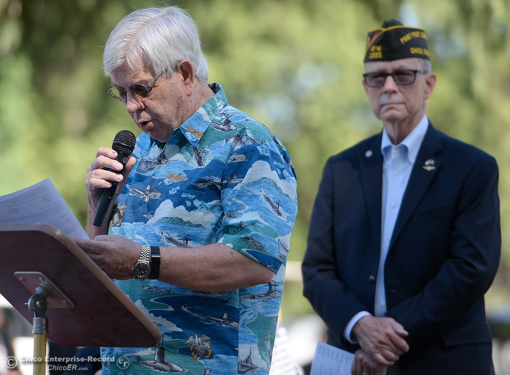 . David Calkins reads Flanders Field during the Memorial Day Ceremony held at the Chico Cemetery in Chico, Calif. Monday, May 28, 2018. (Bill Husa -- Enterprise-Record)