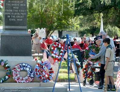 Veterans wait to place wreaths during the Memorial Day Ceremony held at the Chico Cemetery in Chico, Calif. Monday, May 28, 2018. (Bill Husa -- Enterprise-Record)