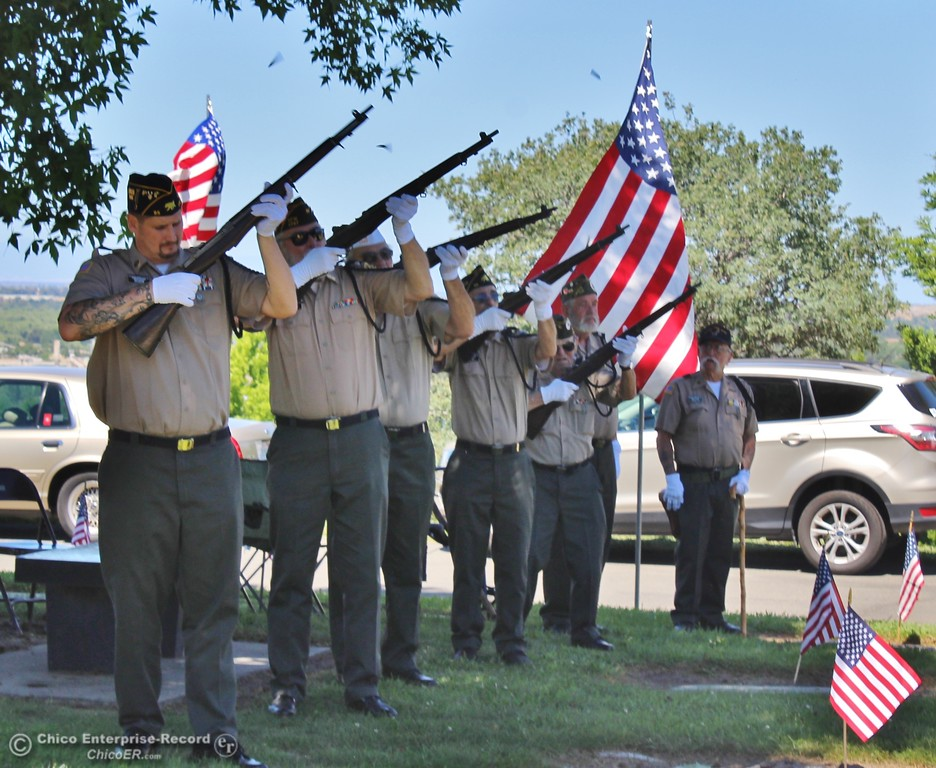 . Steve Schoonover -- Mercury-Register A rifle salute is made during Memorial Day services at Memorial Park Cemetery in Oroville, Monday May 28, 2018.