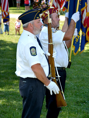 Effingham American Legion Post 120 Color Guard Member Joe Pontious, left and Larry Wente, right, stand at present arms during the Memorial Day Ceremonies held Monday morning at Oakridge Cemetery in Effingham. Charles Mills photo