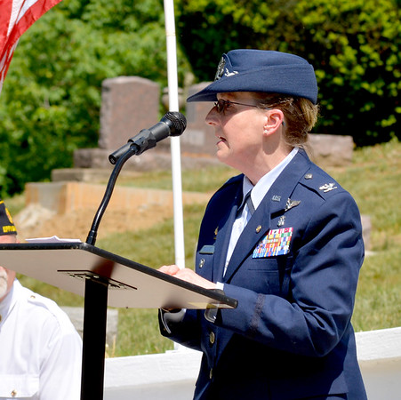 Retired United States Air Force Col. Robin L. Schultze was keynote speaker Monday morning for the Memorial Day Ceremonies held at Oakridge Cemetery in Effingham. Schultze was on Air Force One on 9/11. Charles Mills photo