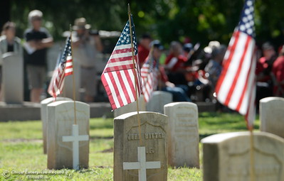 during the Memorial Day Ceremony held at the Chico Cemetery in Chico, Calif. Monday, May 28, 2018. (Bill Husa -- Enterprise-Record)