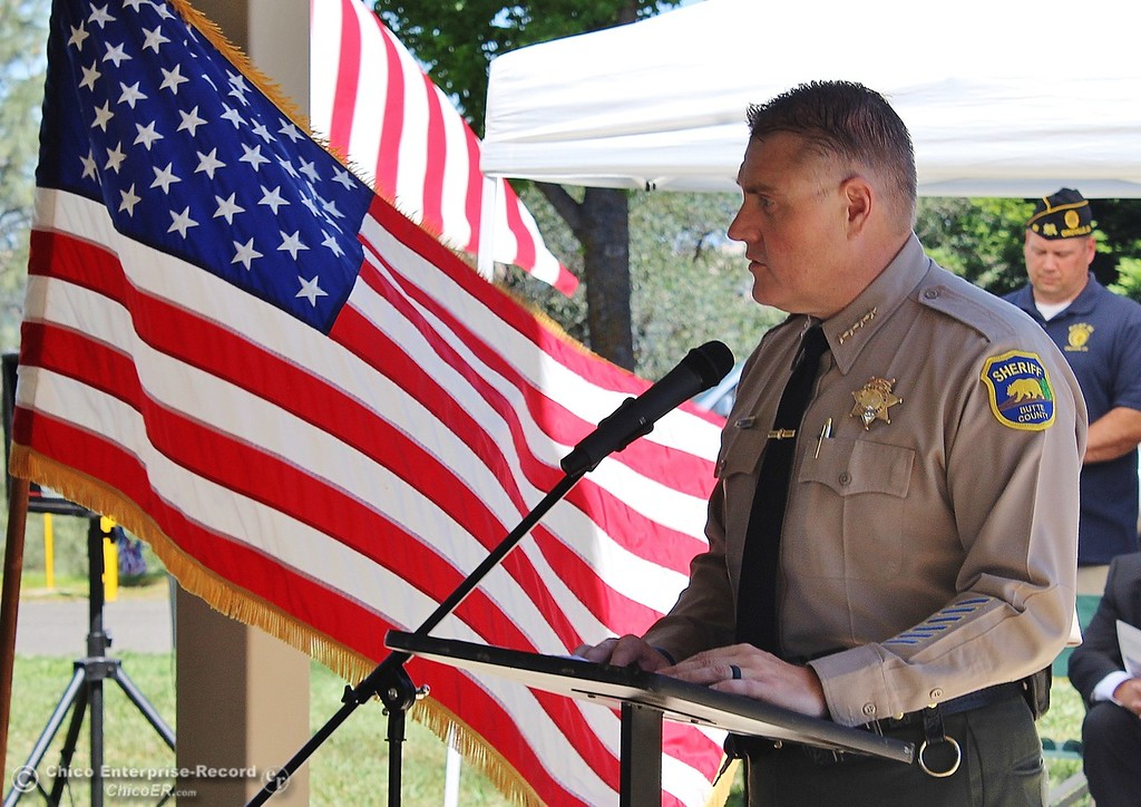 ". Steve Schoonover -- Mercury-Register Butte County Sheriff Kory Honea speaks of ""the debt that cannot ever be fully repaid\"" during Memorial Day services at Memorial Park Cemetery in Oroville, Monday May 28, 2018."