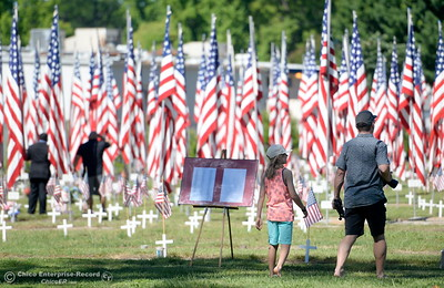 People stroll through the Veterans section during the Memorial Day Ceremony held at the Chico Cemetery in Chico, Calif. Monday, May 28, 2018. (Bill Husa -- Enterprise-Record)