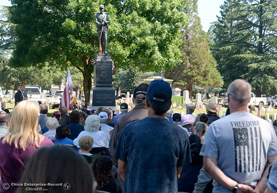 "Veteran Rick Schortgen of Chico stands at right with a ""Freedom"" shirt during the Memorial Day Ceremony held at the Chico Cemetery in Chico, Calif. Monday, May 28, 2018. (Bill Husa -- Enterprise-Record)"