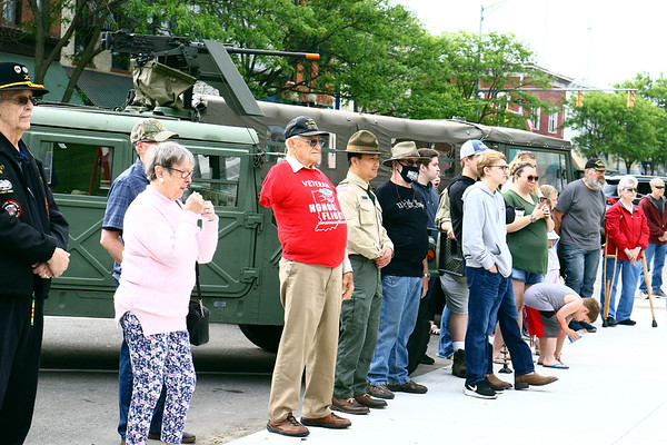 The crowd at the Elkhart County War Memorial service listens to VFW chaplain John Alheim speak Monday morning during Memorial Day services in Goshen.