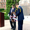VFW Commander George Buckmaster and chaplain John Alheim lay a wreath at the Elkhart County War Memorial Monday morning on Memorial Day as they honored veterans who have died in service to their country.