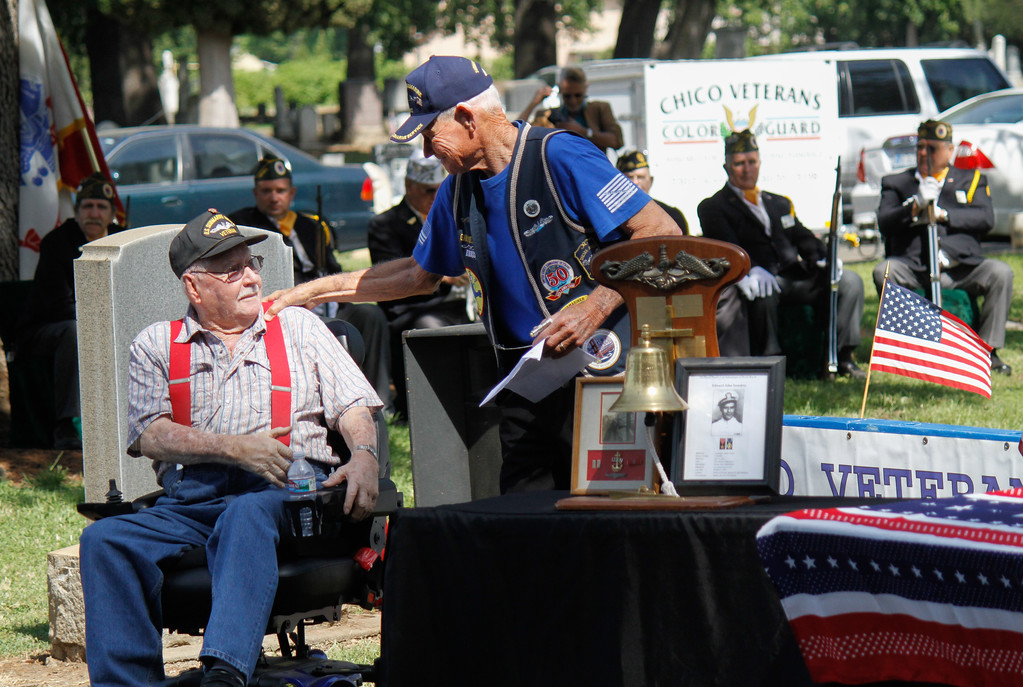 . The US Submarine Veterans conduct the Tolling of the Bells during the Memorial Day Ceremony Monday May 29, 2017 at the Chico Cemetery in Chico, California. (Emily Bertolino -- Enterprise-Record)
