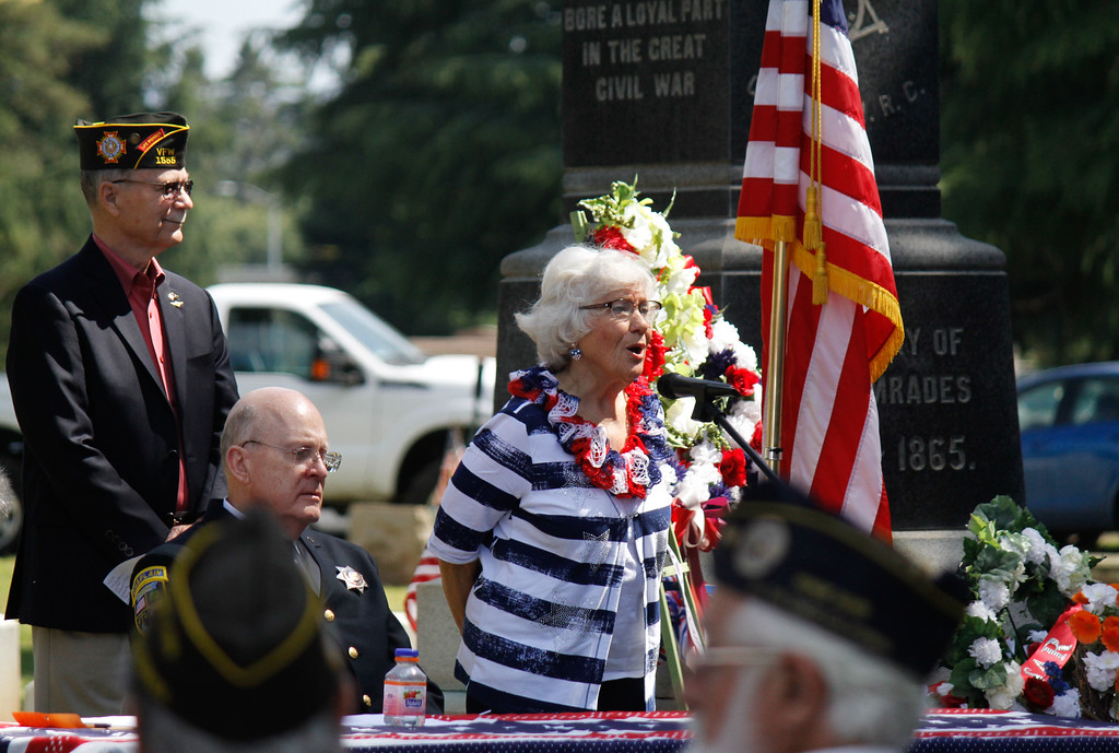 . Marion Compton sings the Star Spangled Banner during the Memorial Day Ceremony Monday May 29, 2017 at the Chico Cemetery in Chico, California. (Emily Bertolino -- Enterprise-Record)