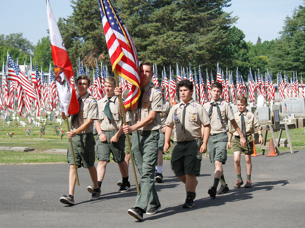 . The Boy Scouts of America present the colors during the Memorial Day Ceremony Monday May 29, 2017 at the Chico Cemetery in Chico, California. (Emily Bertolino -- Enterprise-Record)